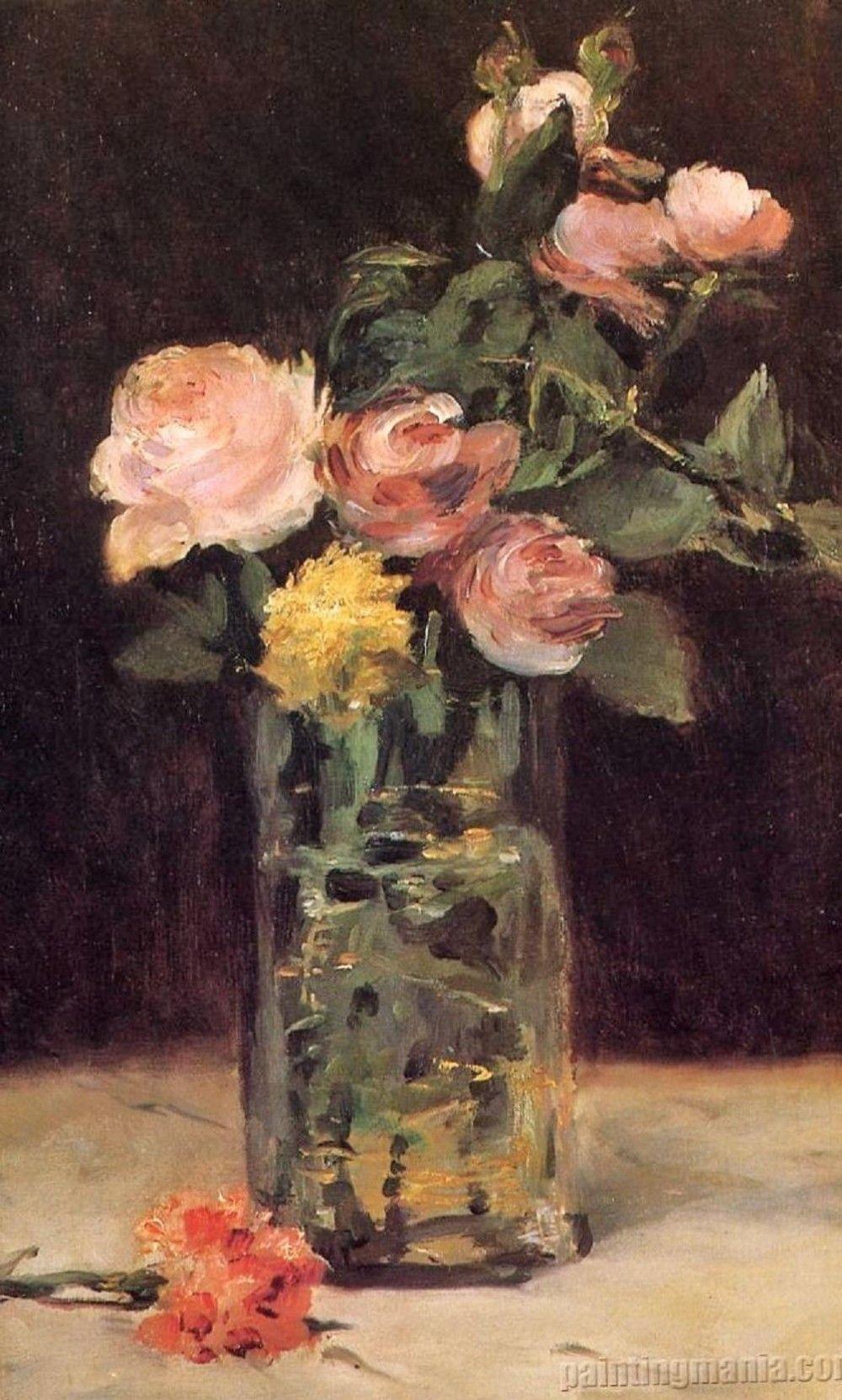 REAL roses from MANET, Roses dans un vase en verre 1883 ...