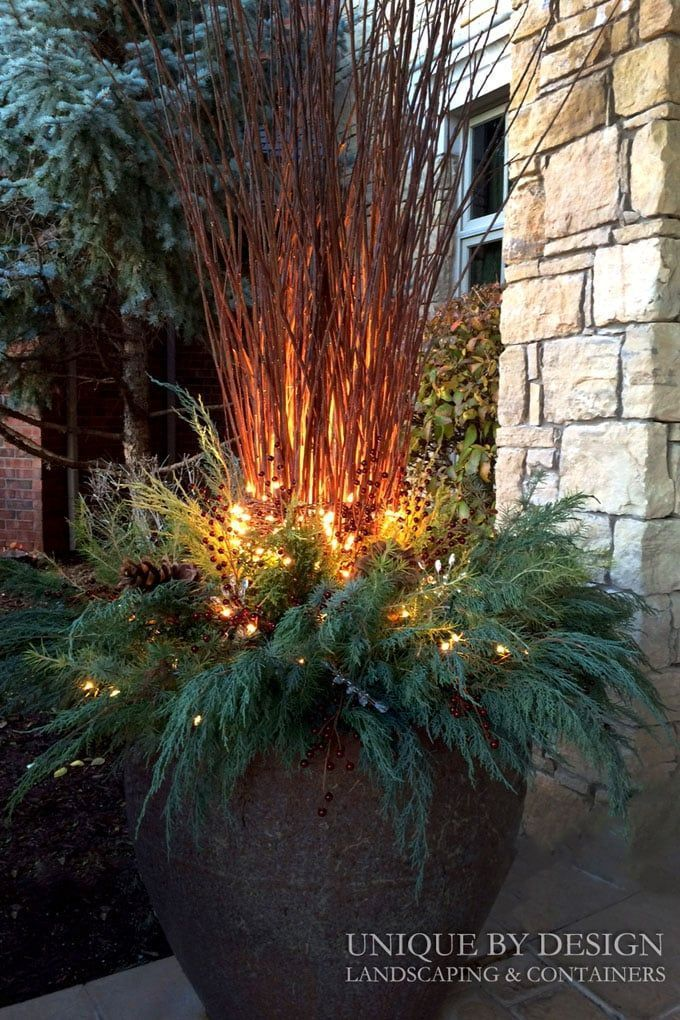 24 Colorful Planters for Winter & Christmas Outdoor Decorations - A Piece Of Rainbow #porch #patio #patiodesign #holiday #backyard  #curbappeal  #diy  #gardens  #gardening #decorations  #urbangardening #winter  #containergardening #plants  #farmhouse #christmas #christmasdecor #christmascrafts #christmasideas outdoor christmas decorations,  #holiday  farmhouse decor, patio, porch