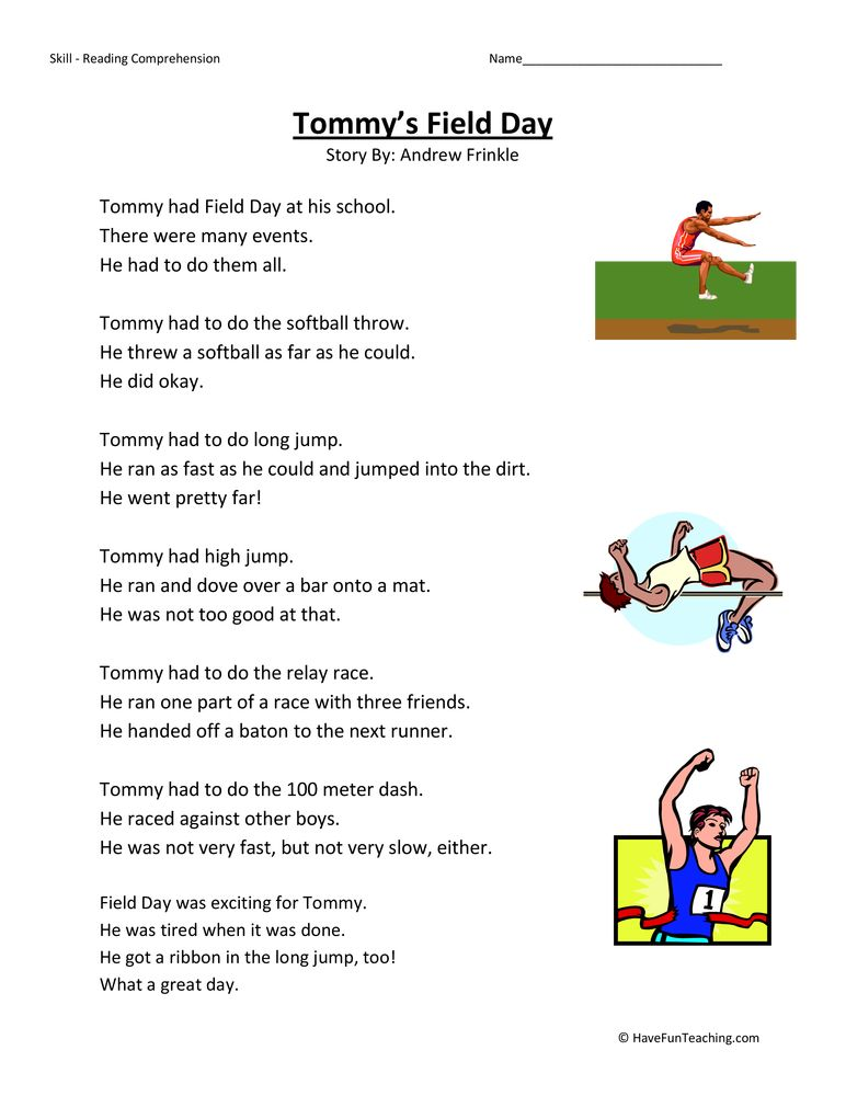 Tommy S Field Day Reading Comprehension Worksheet Reading Comprehension Reading Comprehension Worksheets Reading Comprehension Passages