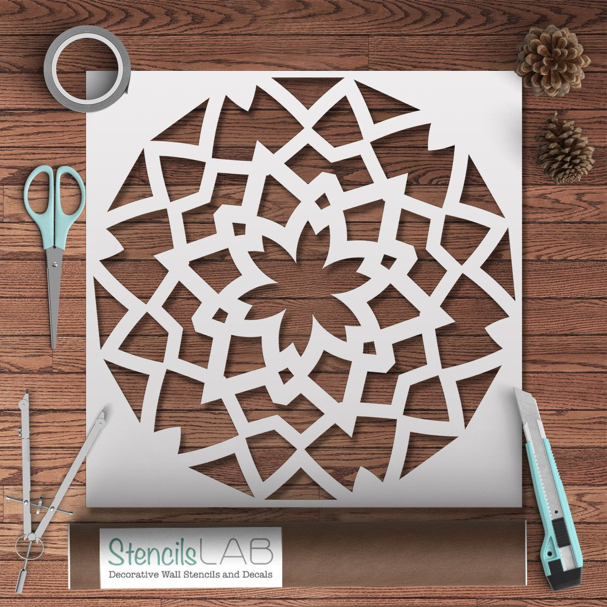 Mandala style stencil for painting geometric pattern wall we are pleased to present our new design reusable stencil mandala style stencil for painting amipublicfo Gallery