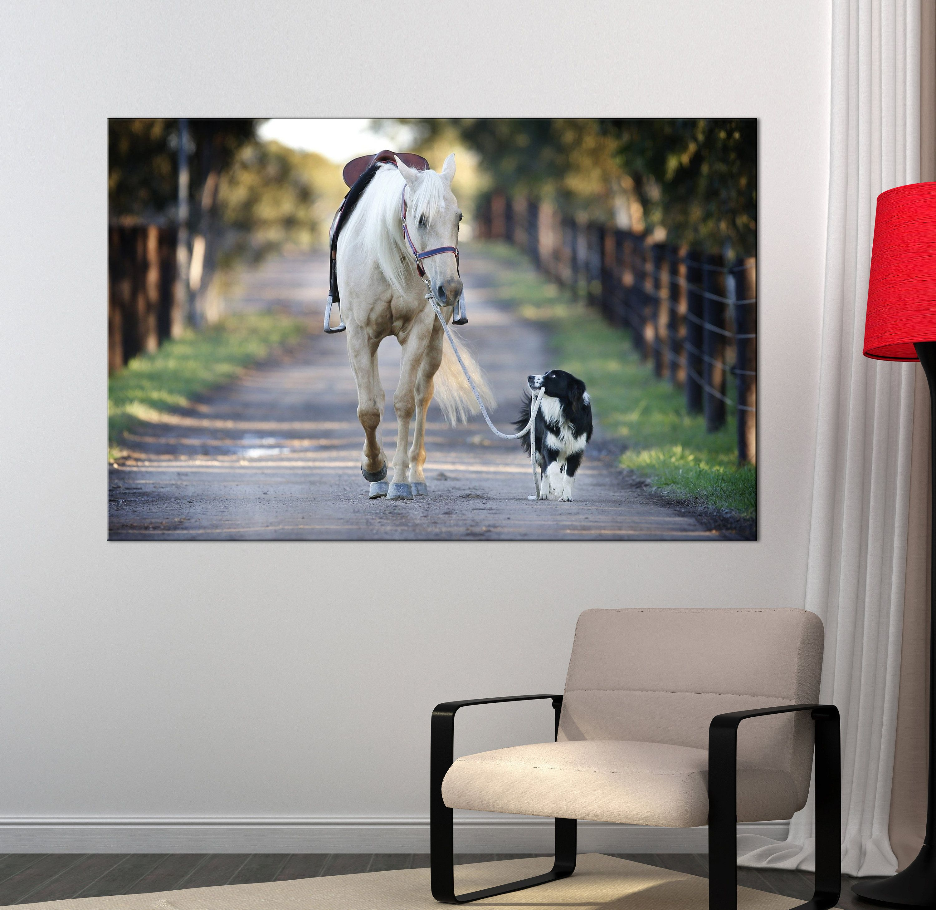 Friendship canvas print beautiful horse and dog canvas art canvas
