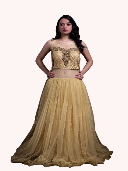 4dc1b33efb2a41 Golden Boat Neck Net Gown by Aashu Khan