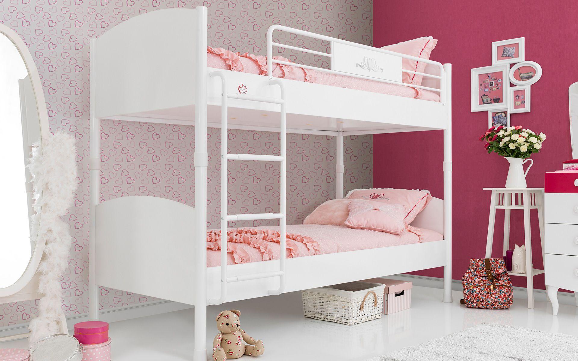 #yakut #çilekodasi #cilekroom #decoration #dekorasyon #genc #oda #pembe #beyaz #pembeoda #beyazoda #klasik #white #pink #yatak #bed #ranza