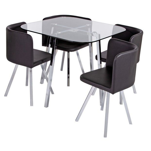 Buy Argos Home Elsie Glass Dining Table & 4 Black Chairs