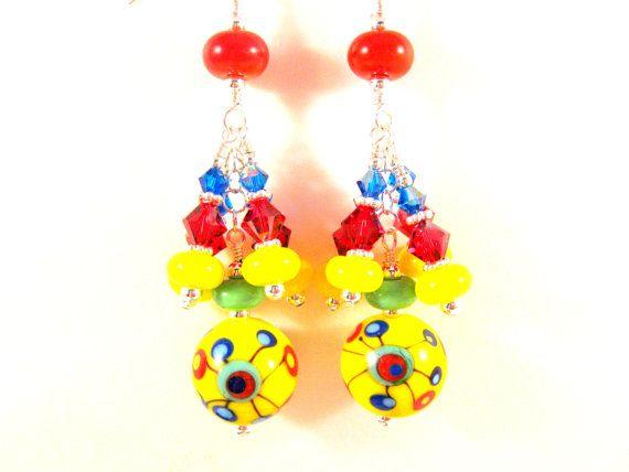 Colorful Lampwork Earrings Glass Earrings by GlassRiverJewelry, $77.00