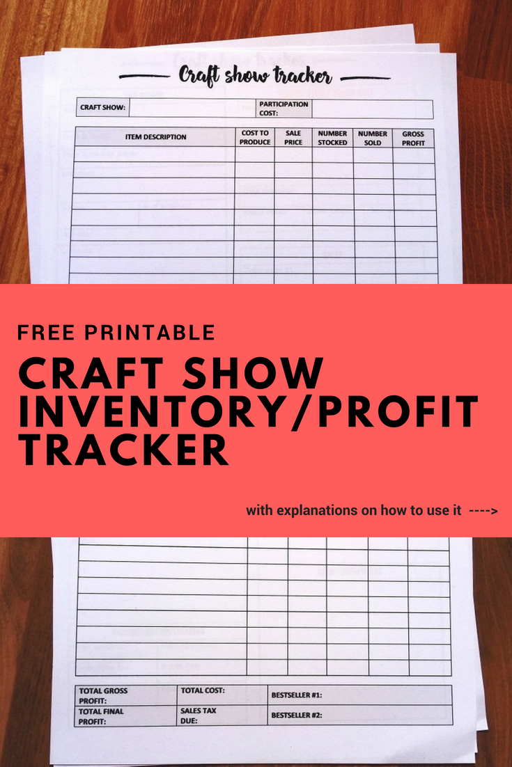 Craft fair inventory tracker - free printable #craftfairs