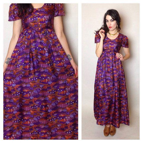 70's BOHO MAXI DRESS  empire waist  purple #ShesMyLilRocknRoll