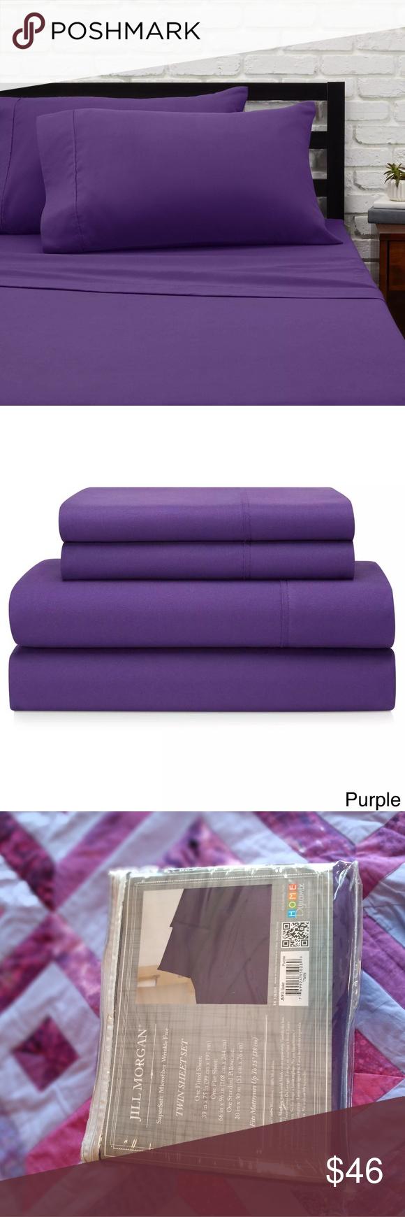Nwt Jill Morgan S Twin Sheet Set Royal Purple Boutique Twin