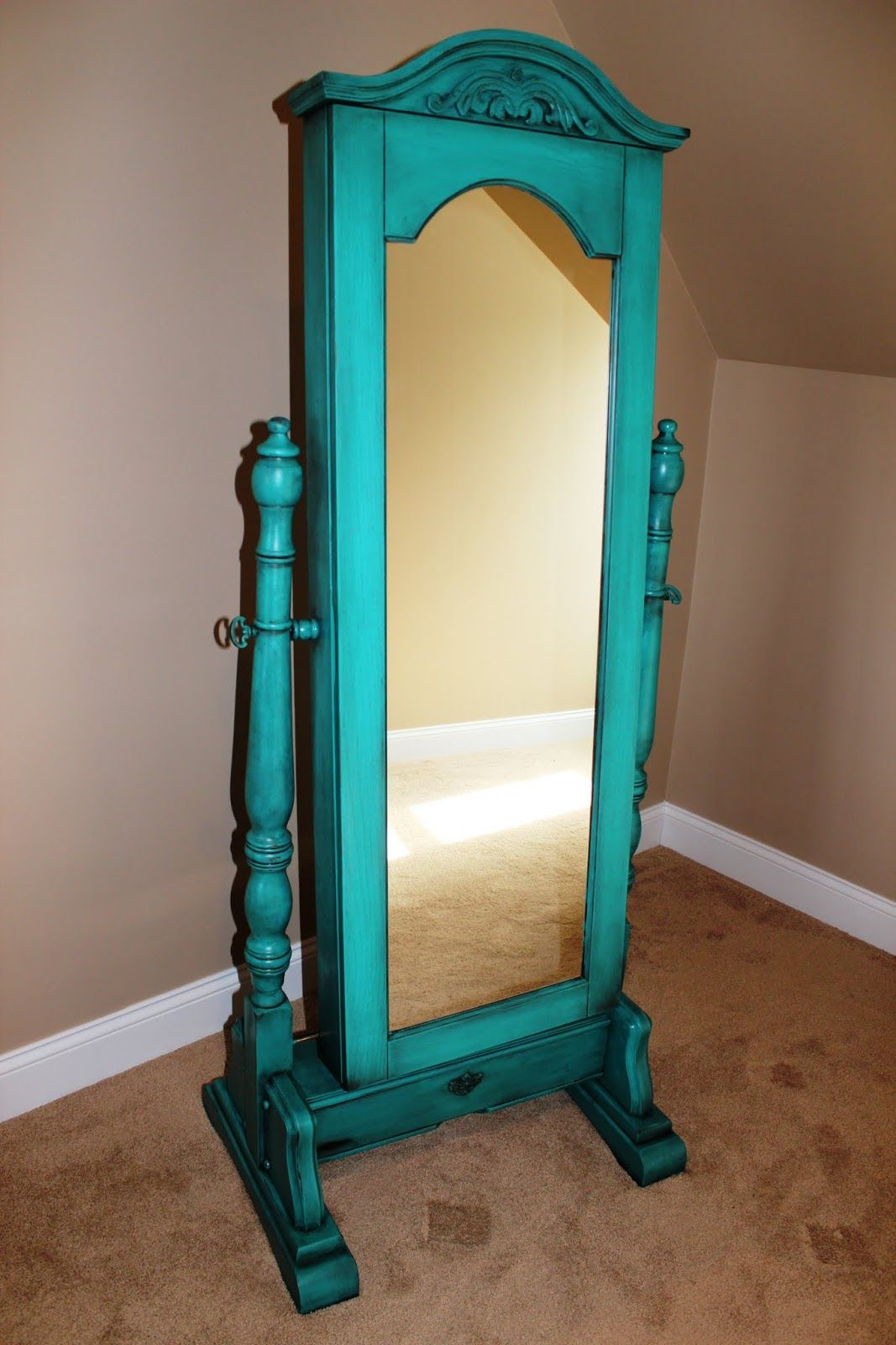 Awesome Turquoise Standing Mirror Jewelry Armoire With Storage
