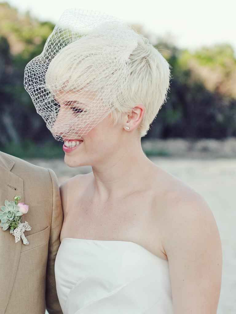 15 Short Wedding Hairstyles With Veils Theknot Com