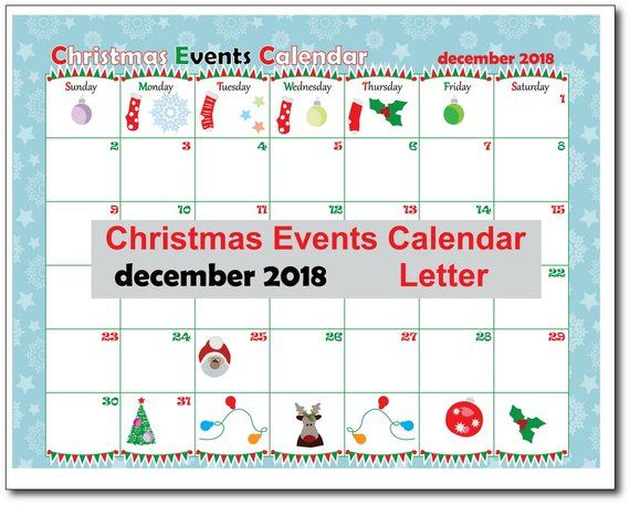 December Cristmas Holiday Calendars 2019 Christmas Events Calendar, Christmas Printable, Happy Planner