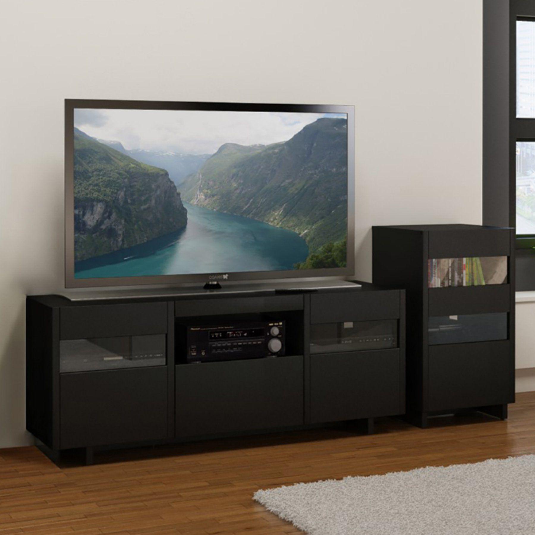 Nexera Vision Entertainment Center With Single Audio Tower Black