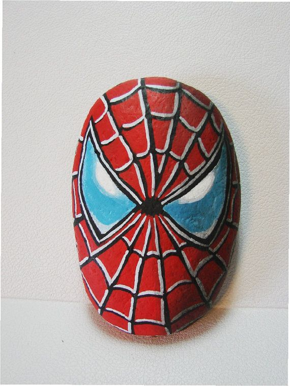 Spiderman Hand Painted Rock Signed Marvel Super Hero Cizimler