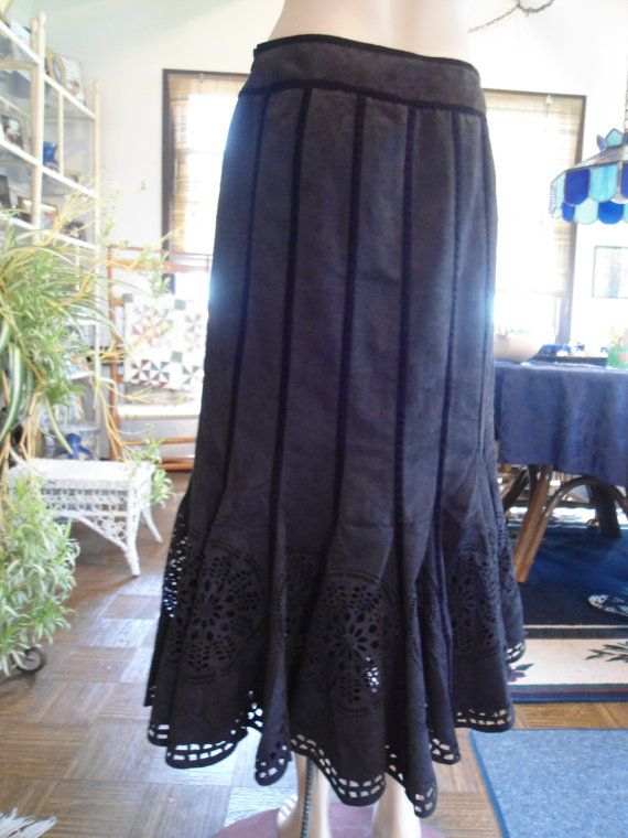 Size 8 Suede Look Flaired Black Skirt Vintage Boho Festival Flair Skirt by LandofBridget