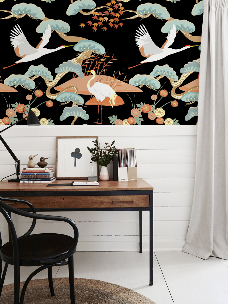 Chinoiserie Crane removable wallpaper in 2020 Wall