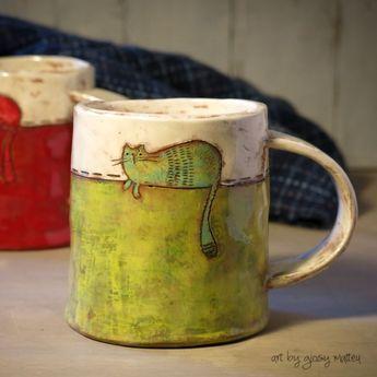i love ceramic, love mug of tea...love cats...