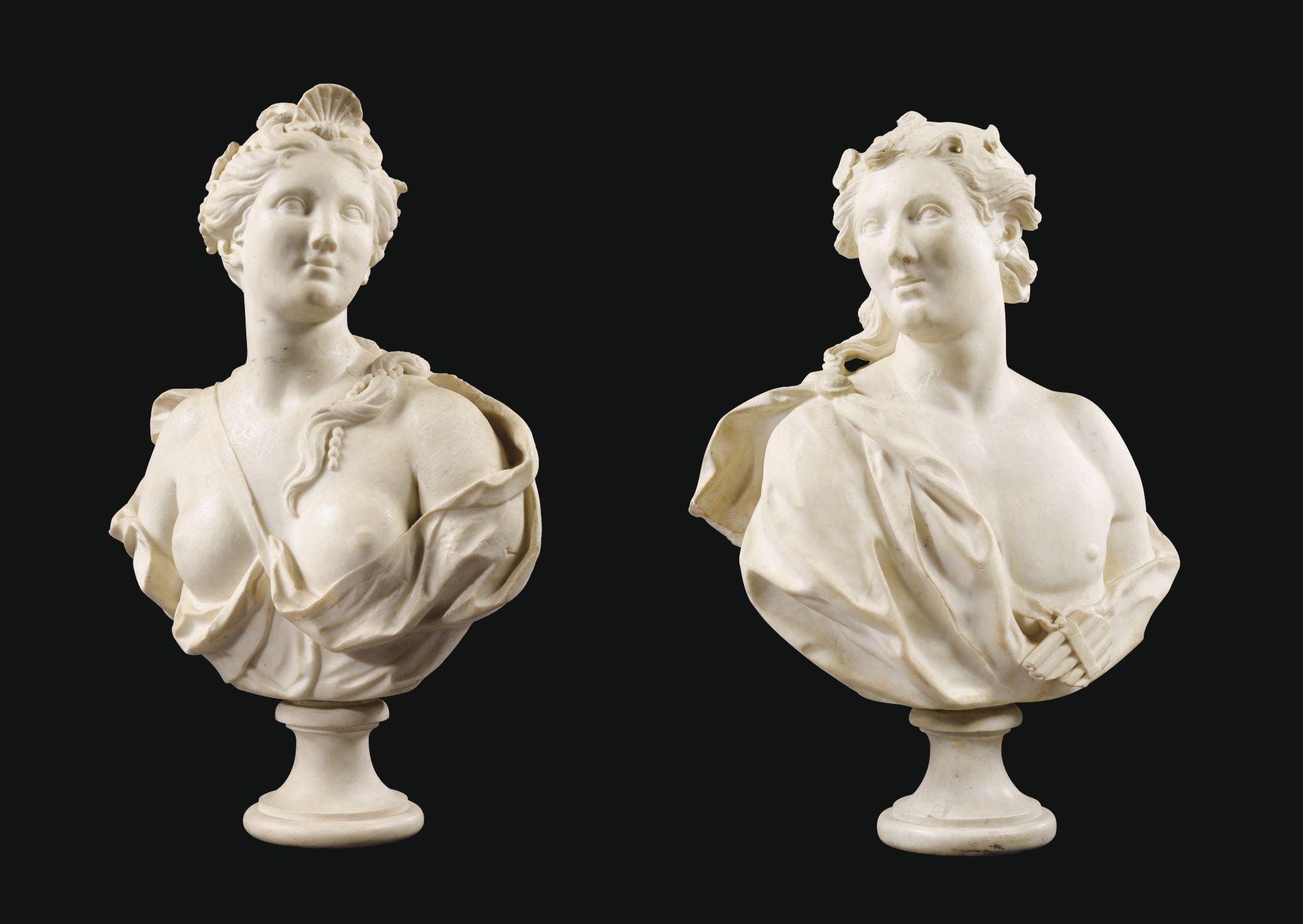 Paire De Bustes D Acis Et Galatee Italie Genes Vers 1700 Lot Statue Marble Bust Sculpture