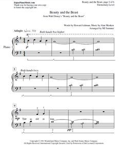 Beauty And The Beast Sheet Music Easy Piano For Kids And Adult