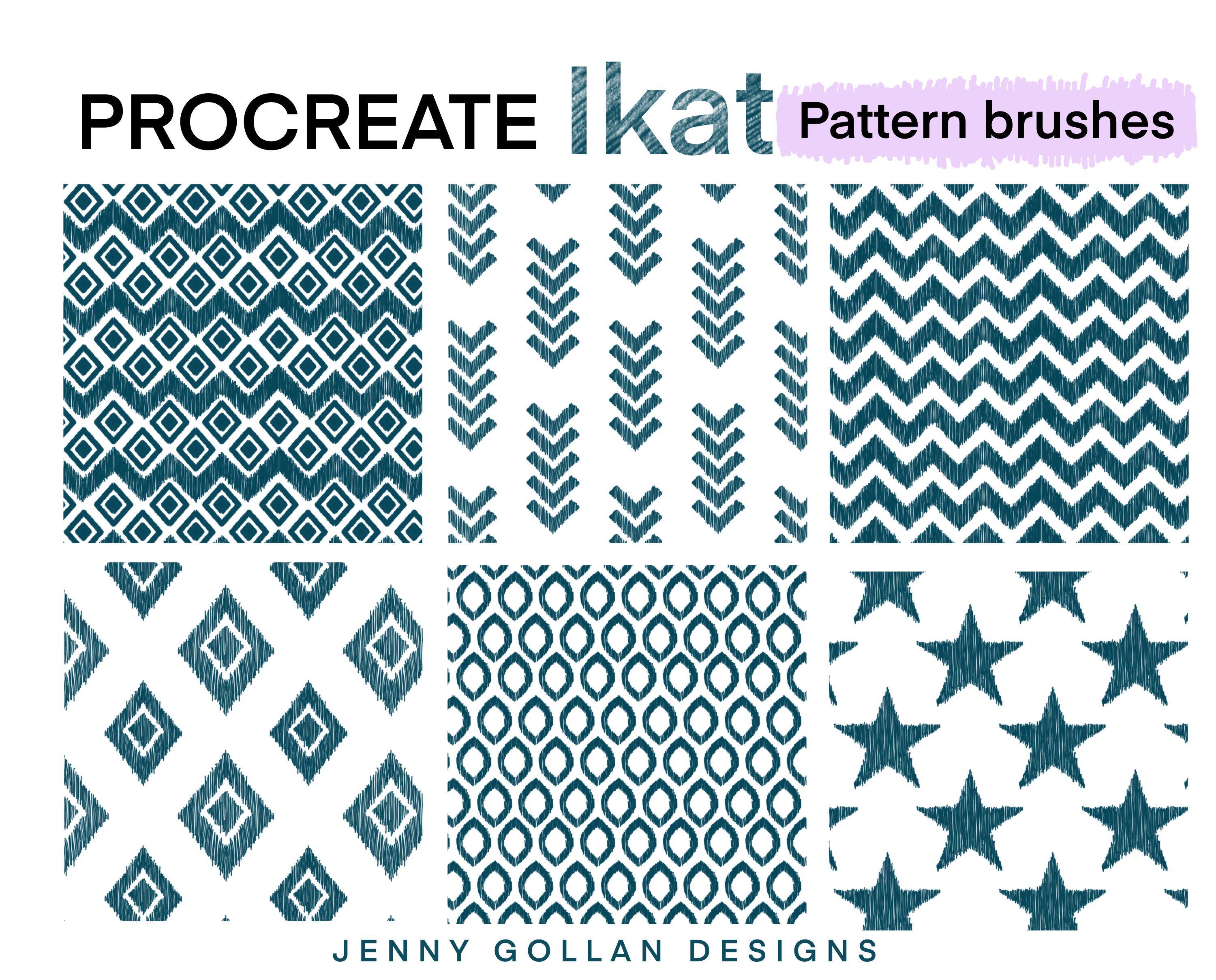 Procreate Brushes Repeating Ikat Patterns Seamless Pattern Brushes