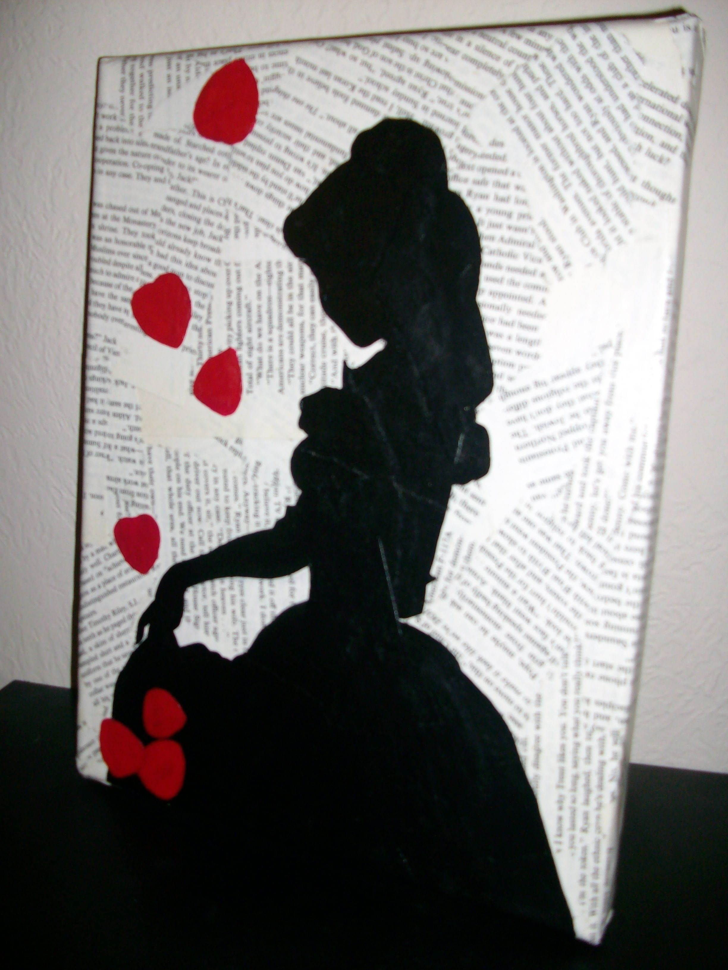 Canvas book pages mod podge belle silhouette and paint for Newspaper canvas art