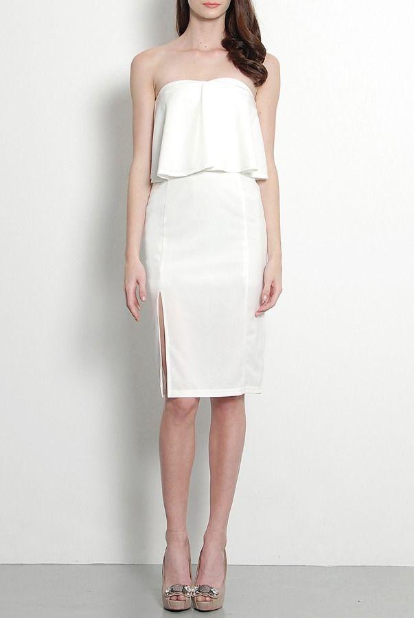 Her Velvet Vase Flounce Strapless Midi Dress In White Short