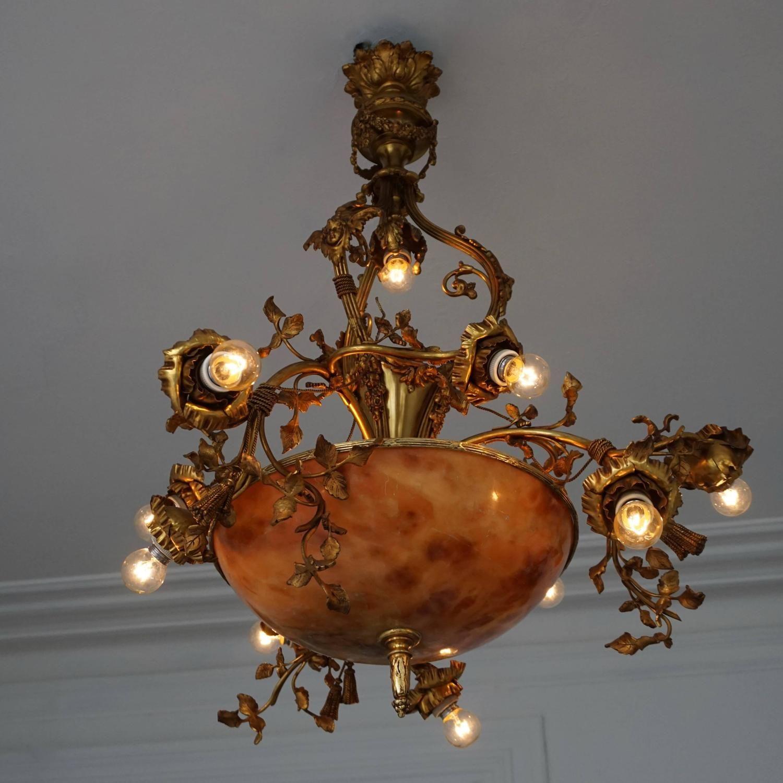 Fine gilt bronze and alabaster belle Époque chandelier pendant