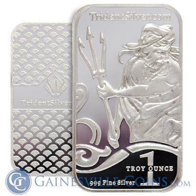 1 Oz Trident Silver Bar 999 Fine Silver Bullion