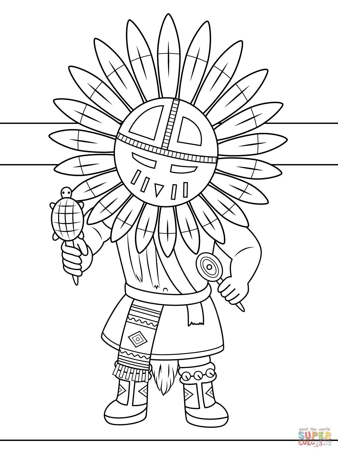 Kachina Doll Coloring Page From Native Americans Category Select From 27626 Printable Crafts Of Cartoon Coloring Books Flag Coloring Pages Cute Coloring Pages