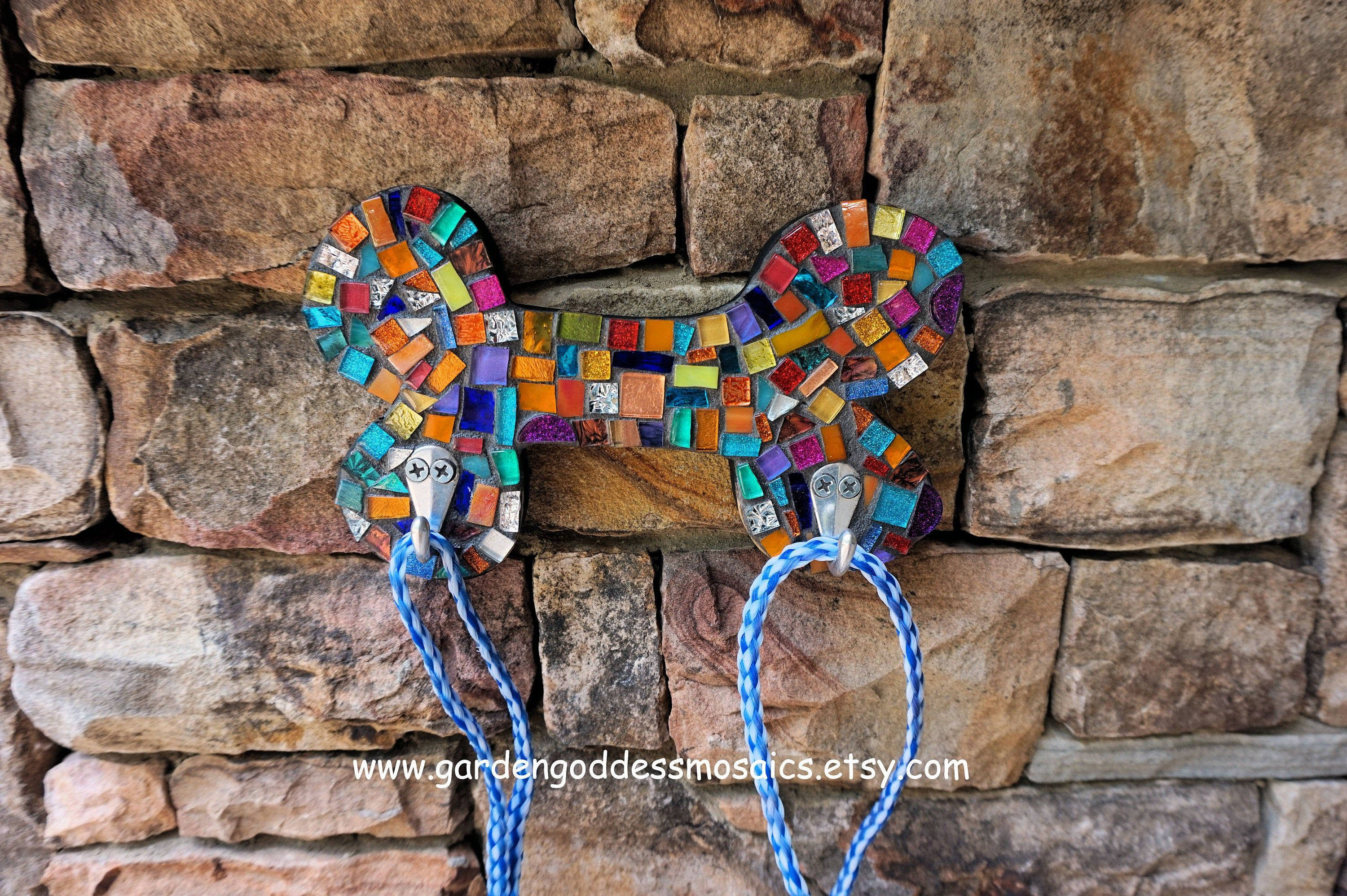 Stained Glass Mosaic Dog Leash Wall Hook