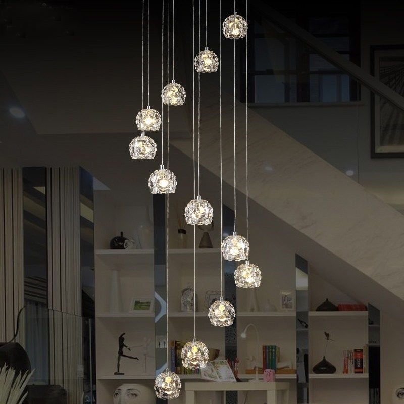 Lighting Basement Washroom Stairs: Modern Spiral Chandelier Led Staircase Lighting Indoor