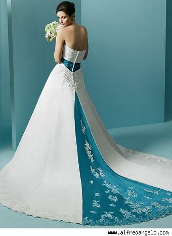Blue Wedding Dresses | white blue strapless wedding dress with a ...