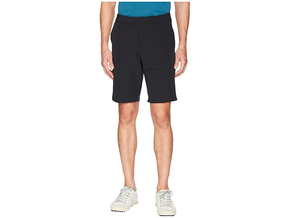 Nike Golf Slim Fit Flex Shorts (Black/Black) Men's Shorts. Strut the fairway with classic style in the high-performance Nike Golf Flex Shorts. Nike Flex four-way stretch fabric provides a wider range of movement and enhanced comfort. Dri-FIT technology wicks perspiration towards the fabric surface where it can evaporate. Belt loop waistband. Hook-and-bar closure with zip fly. Four-pocket design. Tonal Swoosh logo at rear-right #NikeGolf #Apparel #Bottom #Shorts #Black