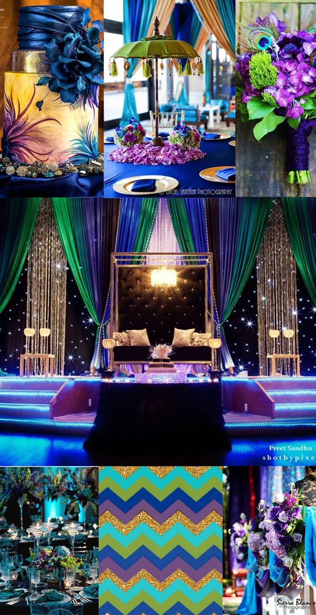 Pea Themed Palette Blue Purple Green And Gold Indian Wedding Theme
