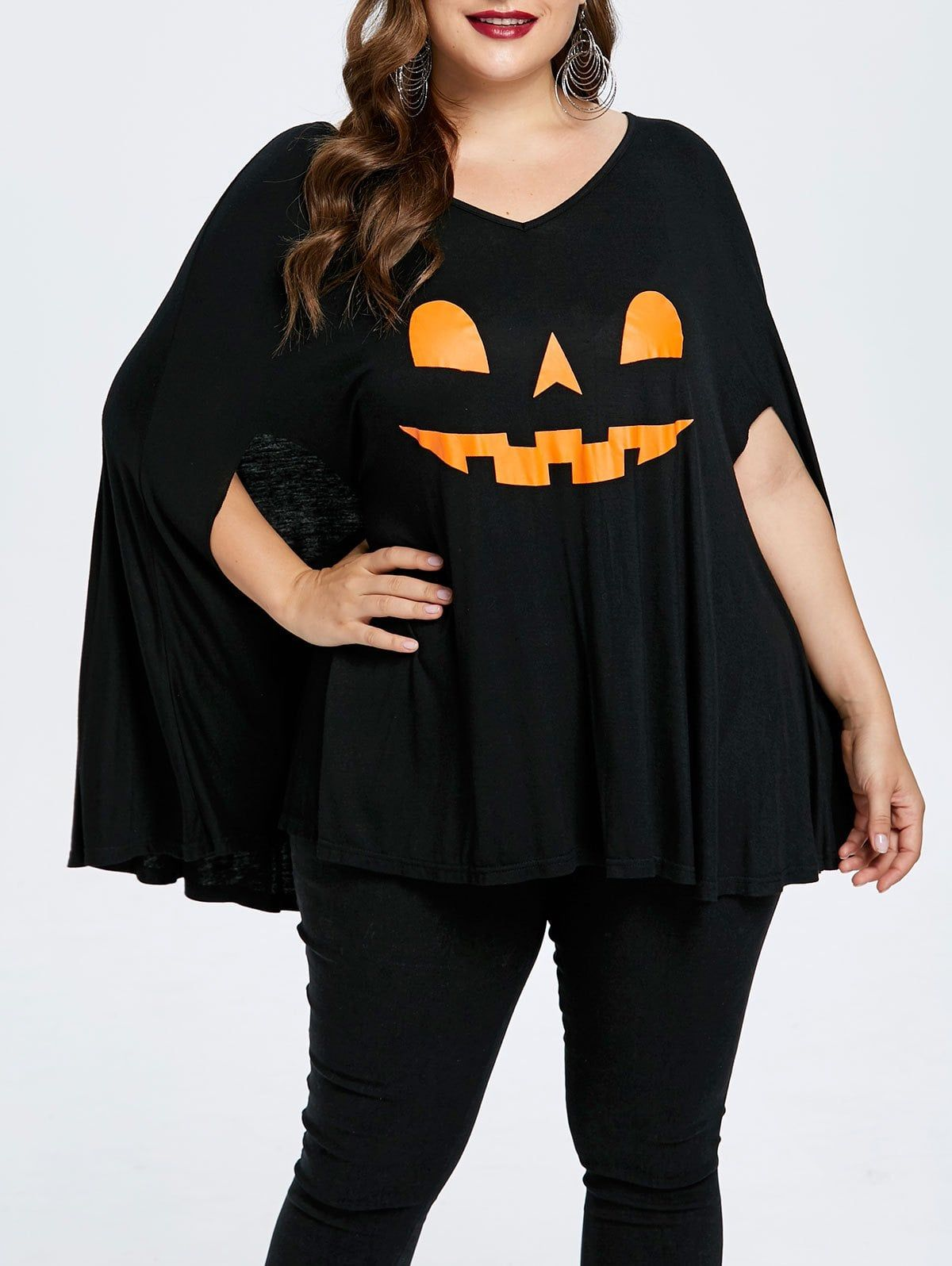 Plus Size Halloween Pumpkin Lamp Poncho Tshirt BLACK 5X