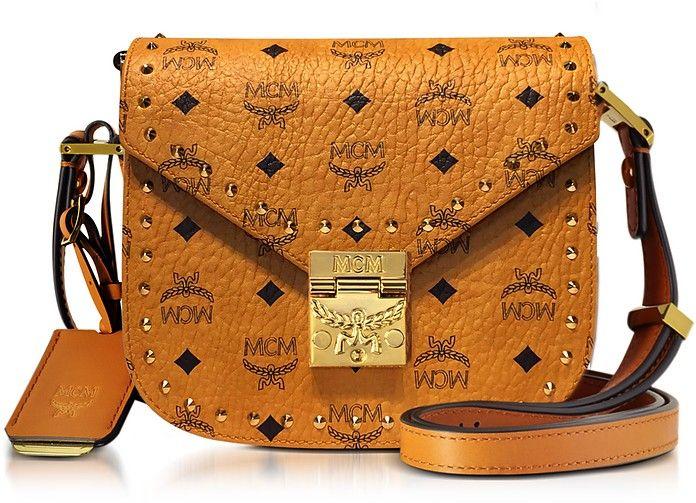 MCM Cognac Patricia Studded Outline Visetos Small Shoulder Bag.  mcm  bags  shoulder  bags  leather  canvas   27a2efdb4eac6