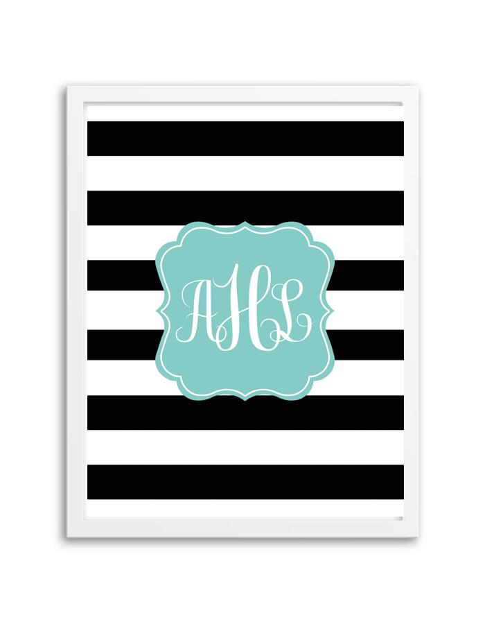 Striped Monogram BlackAqua Monogram maker Printable monogram
