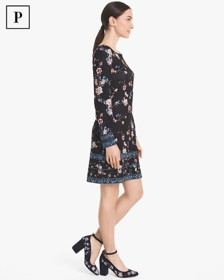120a3c34246 Women s Petite Long-Sleeve Floral Knit Shift Dress by White House Black  Market