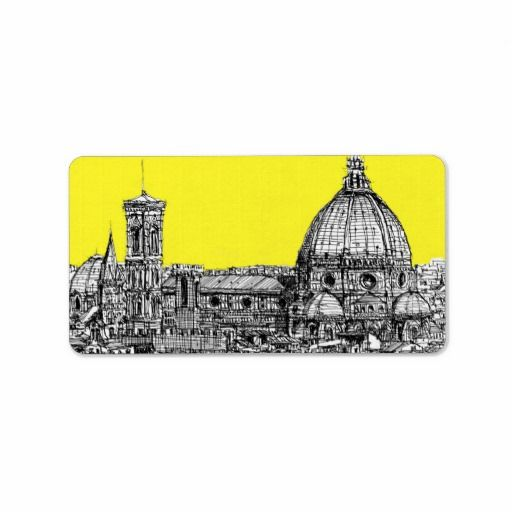 Firenze in canary yellow custom address label