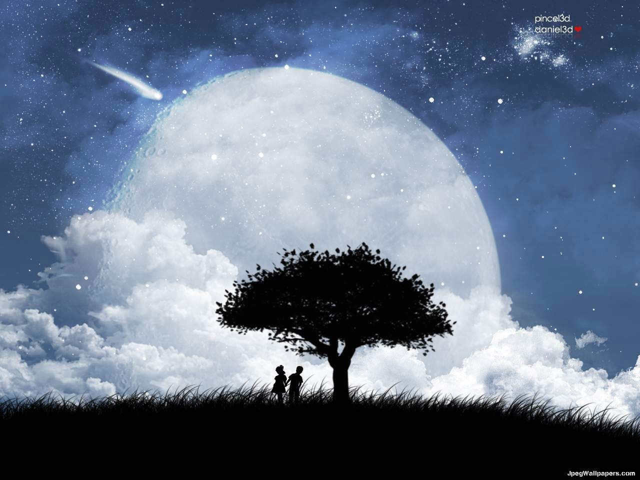 Peaceful Night Clouds Couple Moon People Shooting Star Silhouette Sky Tree Vector Moon Images Love Wallpaper Moon Pictures Hd wallpaper trees silhouette night moon