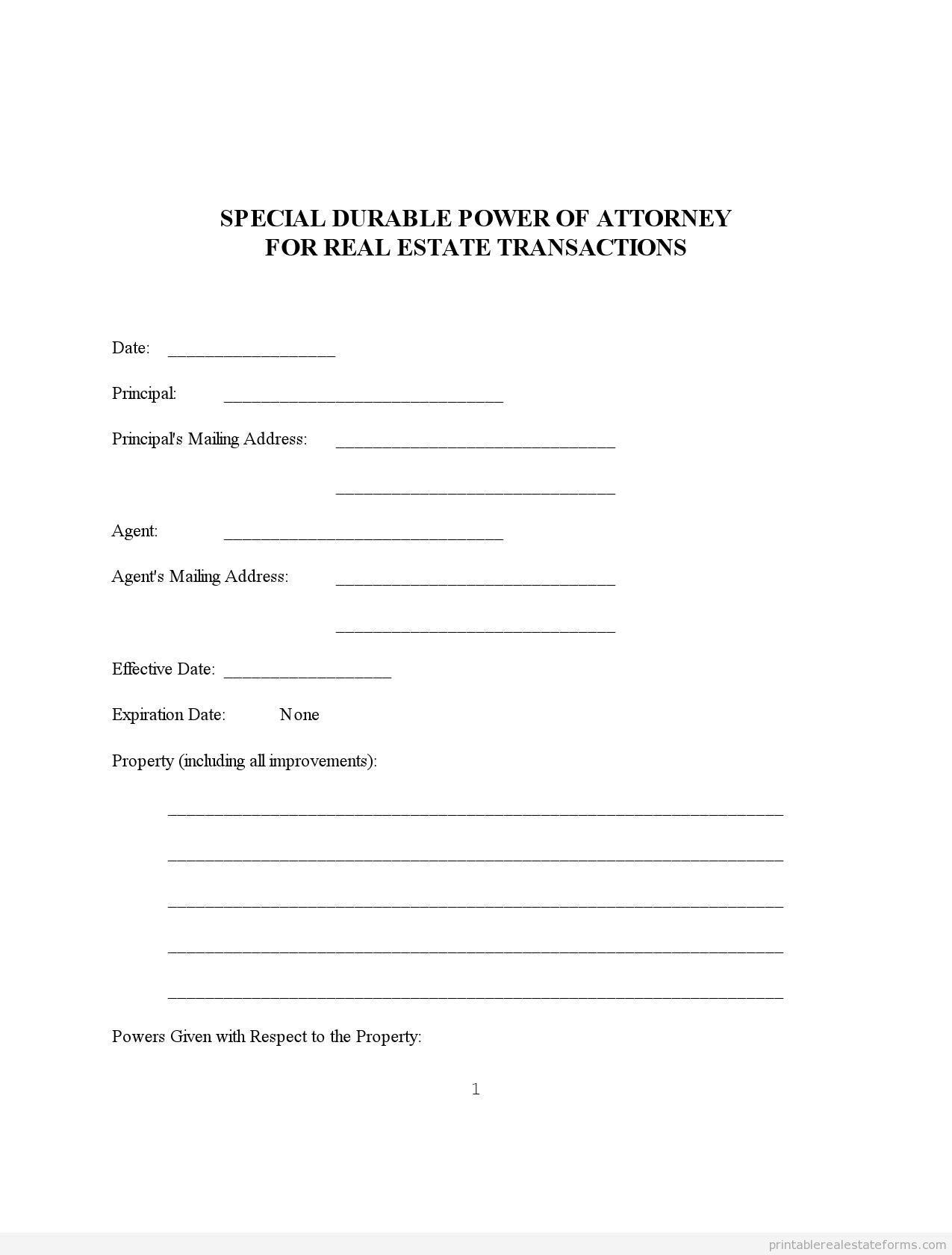 Sample Printable Powerofattorney 1 Form Real Estate Forms Legal