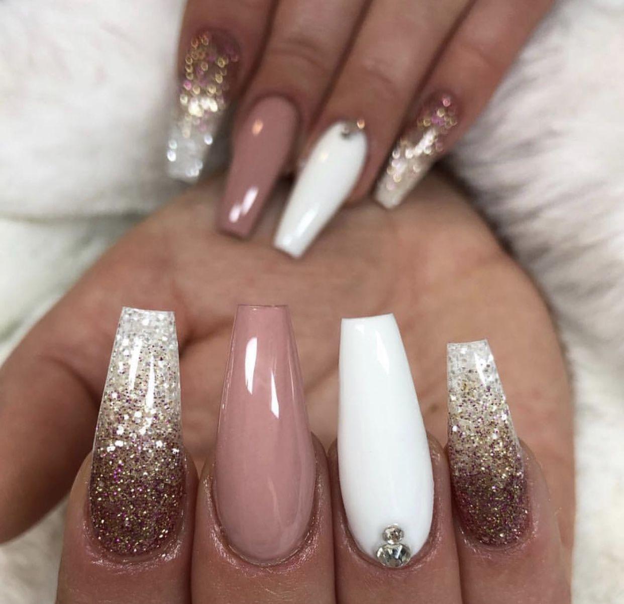 Matte Nails White And Gold Glitter Coffin Nails