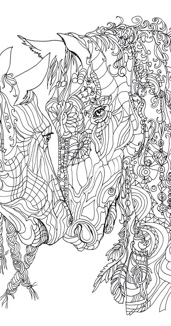 Coloring Pages Printable Adult Book Horse Clip Art Hand Drawn Original Zentangle By ValRa