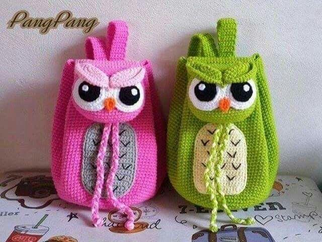 Crochet Owl Backpack | baby tøj | Pinterest | Eule, Tasche häkeln ...
