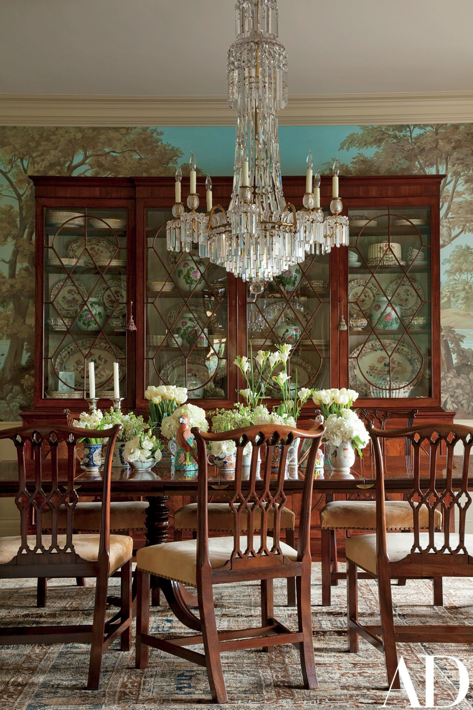 In The Dining Room, Chippendale Chairs Found In London Surround A Mahogany  Pedestal Table; The Regency Period Crystal Chandelier And Massive  Breakfront Are ...