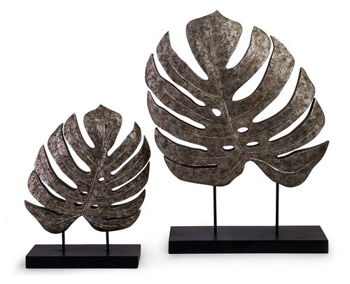 """Silver Antiqued Leaves - Set of 2 13.25-18.5""""""""h x 11-13.75""""""""w x 3.75"""""""""""