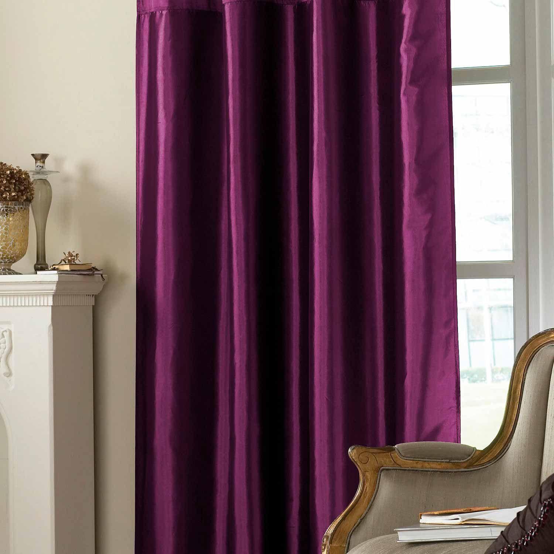 Emroidered Taffeta Curtain Purple Faux Silk Curtains Curt