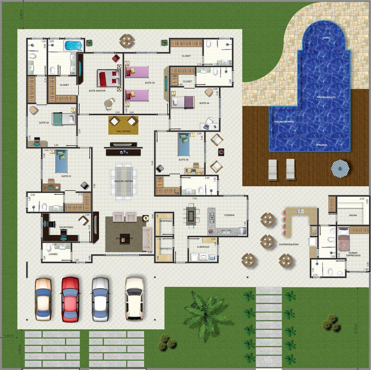 Projeto De Casa Trrea 6 Quartos Com 30971m