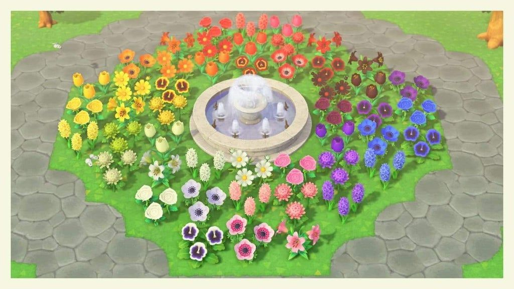 Just wanted to show my new rainbow flowerbed : ac_newhorizons #acnewhorizons #acnh island designs ideas #flowerbed #Rainbow #show #wanted