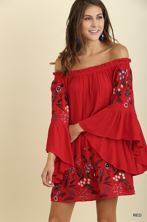9f2e83c3f54a5c Umgee Embroidered Babydoll Short Dress - Cherry Red. Off Shoulder ...