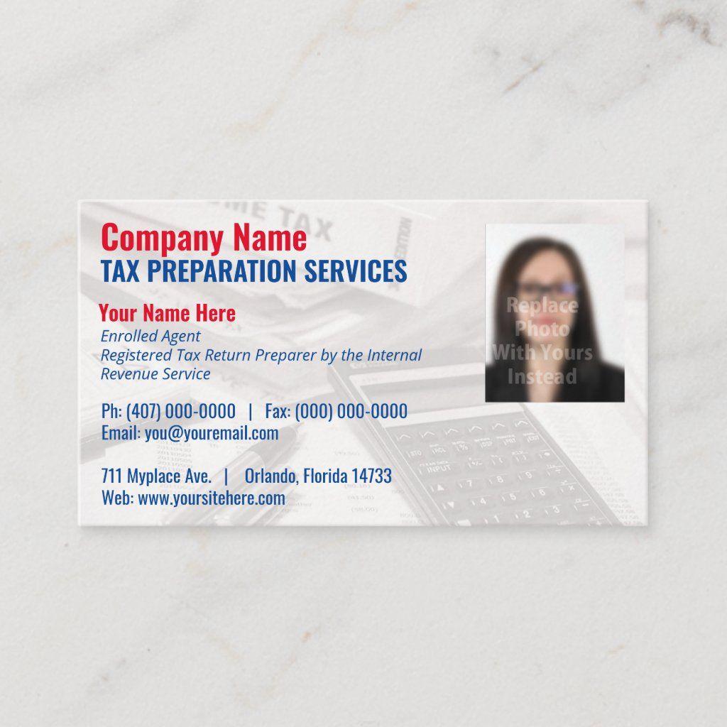Tax Preparing Preparer Photo Business Card Zazzle Com Photo Business Cards Business Card Appointment Tax Preparation